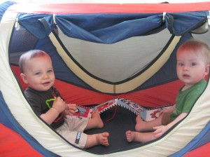 Zach & Justin in the tent!