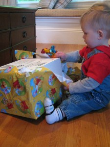 Opening his birthday present