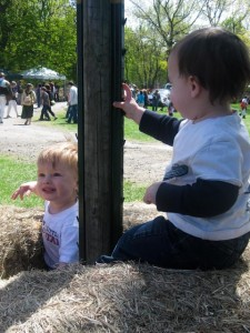 Justin and Zach love playing on hay bales!