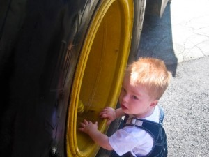 Touching a truck (wheel)