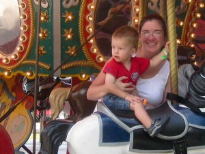 Riding the carousel with Mama