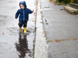 Running through the puddles!
