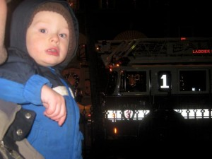 Waiting by the fire truck was cool! Flashing lights and firemen that waved hi!