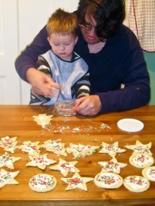Cookie decorating with Daddy!