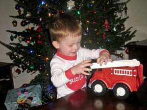And he brought me a fire truck!