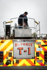 On top of the firetruck with Daddy!