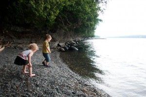Skipping stones with my friend Violet!