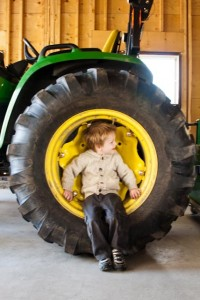 Waiting for a tractor ride