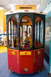 Driving the trolley at the San Antonio Children's Museum