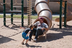Sliding with Uncle Erich!