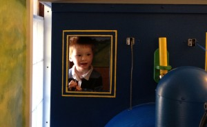 In the train engine!